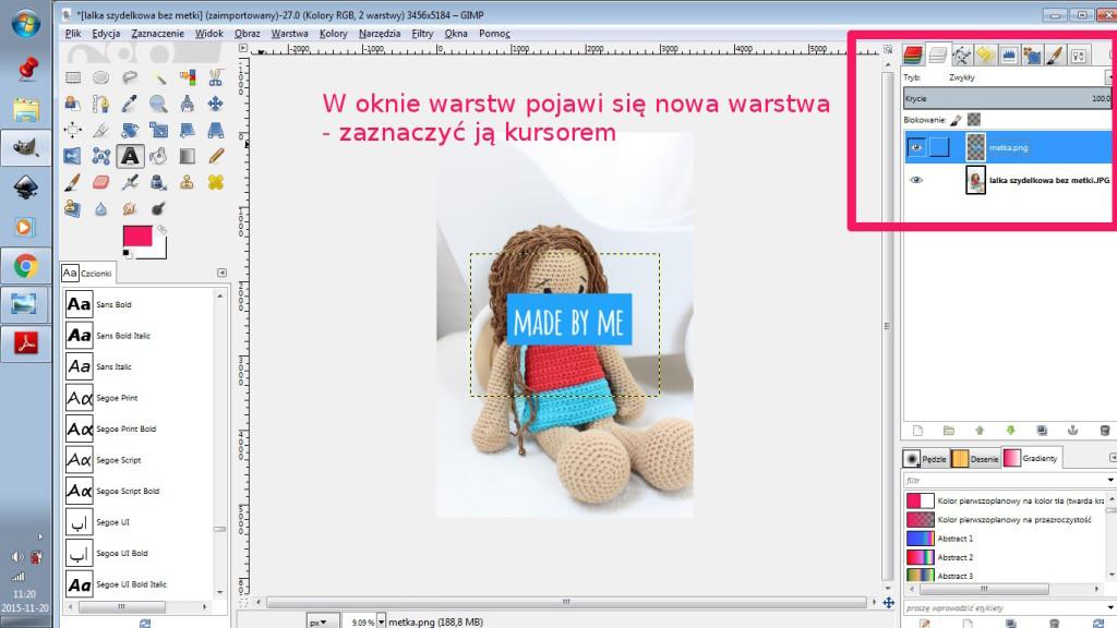 2 GIMP - z nalozona metka zaznaczenie