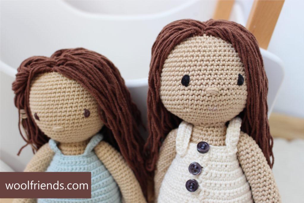 szydelkowe lalki glowy siostry z metka