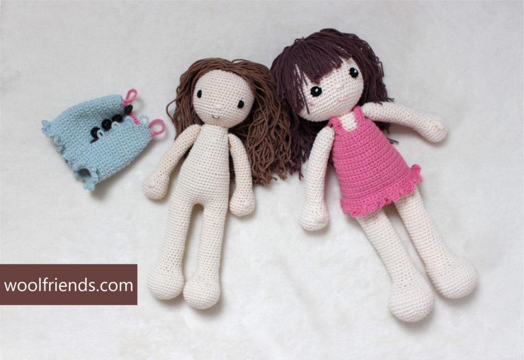 dwie szydelkowe lalki uwielbiam je robic