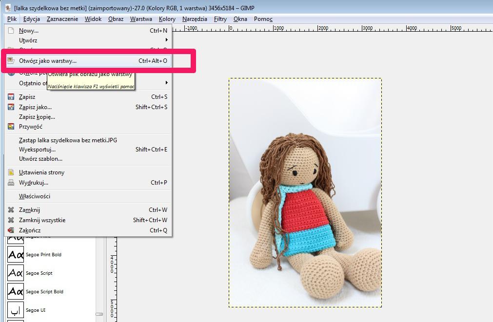 1 GIMP - otworz jako warstwy zaznaczenie