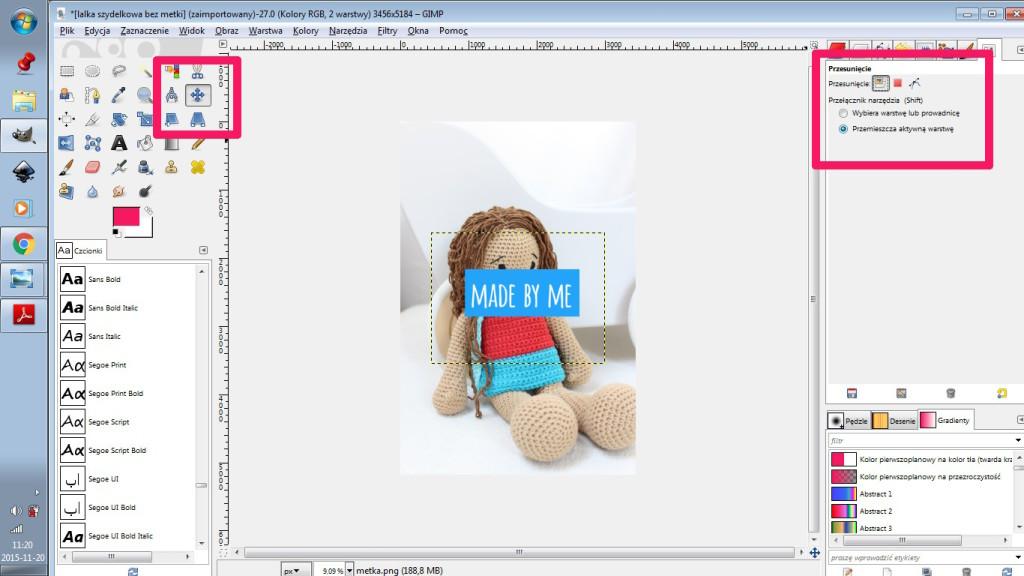 3 - GIMP narzedzie do przesuwania zaznaczone