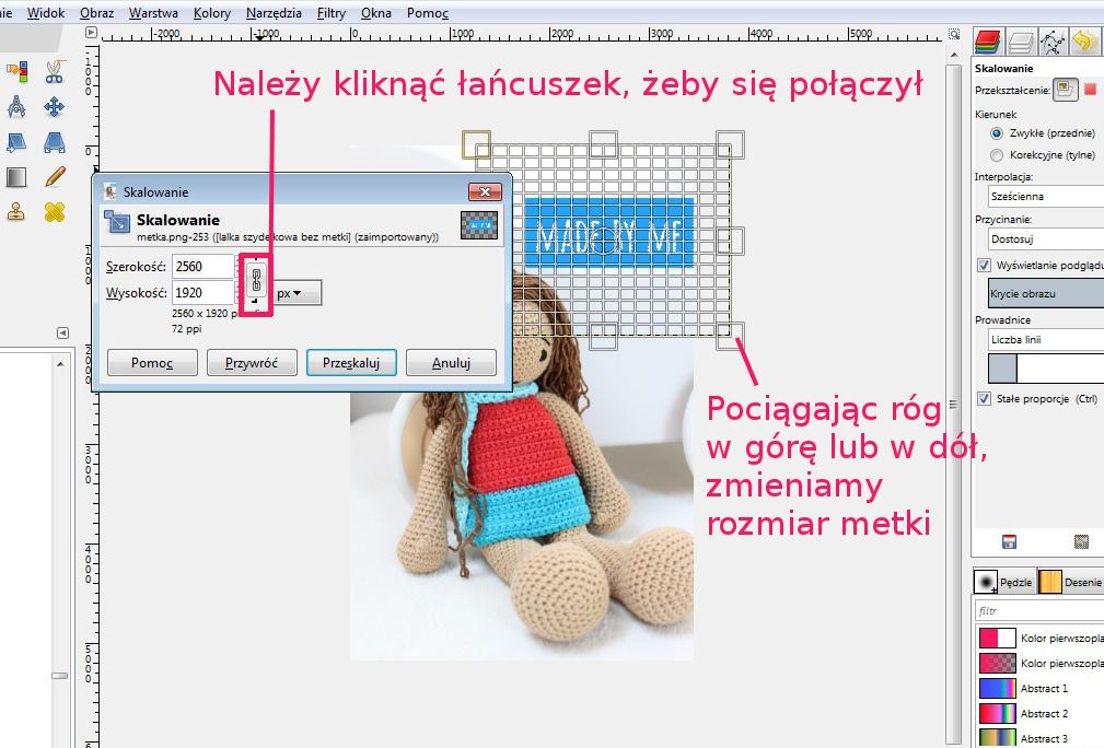4 - GIMP skalowanie kliknac lancuszek dopiski