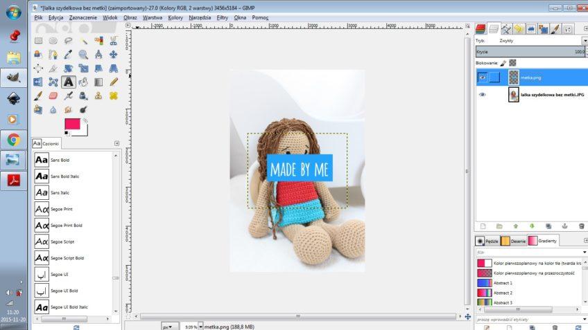 Jak dodać metkę do zdjęcia w GIMPie?